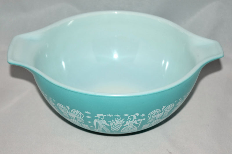 Vintage Glassware-Pyrex-Turquoise-Cinderella Mixing Bowl-Butterprint #442 - Retro Reclaimations - 2