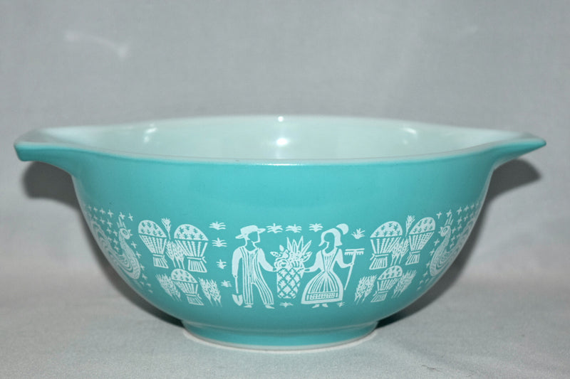 Vintage Glassware-Pyrex-Turquoise-Cinderella Mixing Bowl-Butterprint #442 - Retro Reclaimations - 1