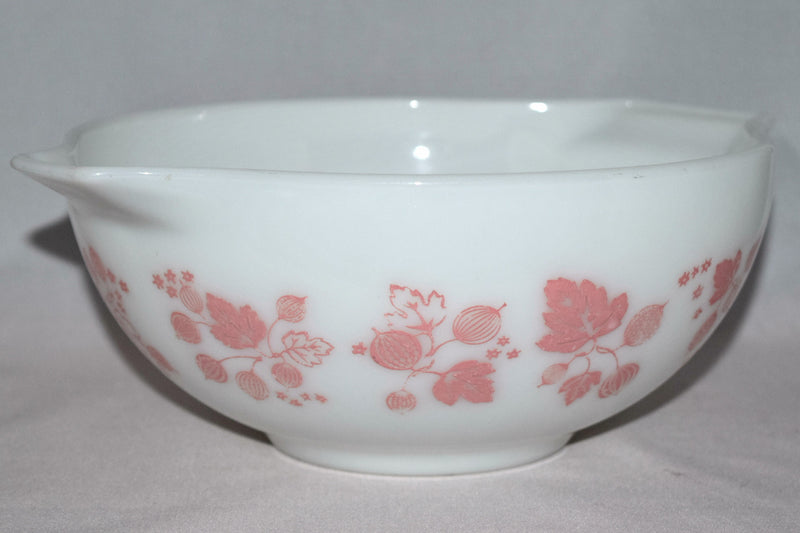 "Vintage Glassware-Pyrex-Pink ""Gooseberry""-Cinderella Mixing Bowl #443 - Retro Reclaimations - 4"