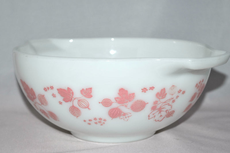 "Vintage Glassware-Pyrex-Pink ""Gooseberry""-Cinderella Mixing Bowl #443 - Retro Reclaimations - 3"
