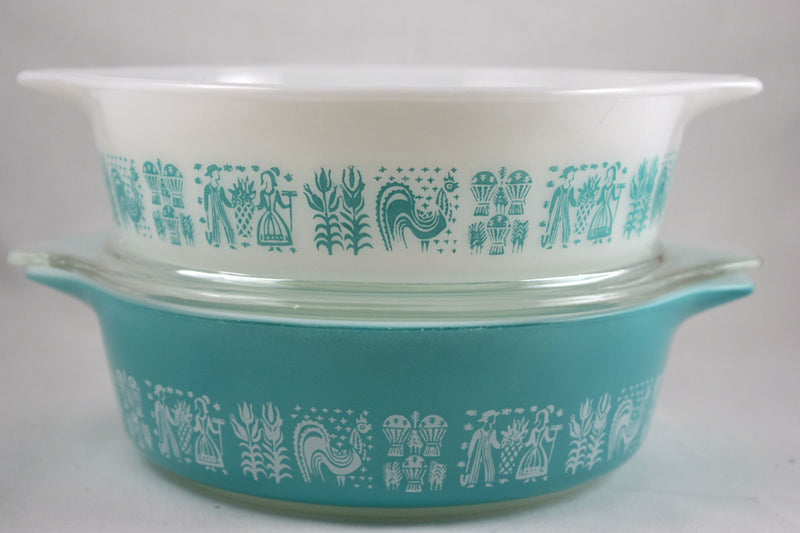 Vintage Glassware-Pyrex-Butterprint-Bake-Serve-Store-Turquoise-Casserole - Retro Reclaimations - 1