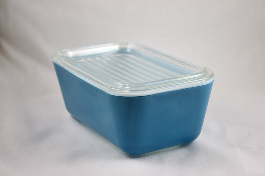 Vintage Glassware-Pyrex-Refrigerator Dish-Primary Colors-Blue-1.5 pint-1945-(1) - Retro Reclaimations - 1
