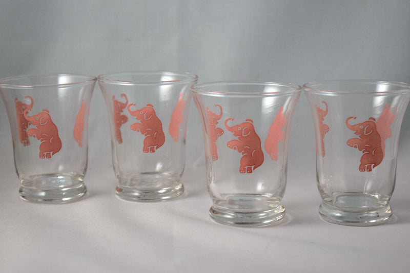 Vintage Barware-Cocktail Glasses-Hazel Atlas-Pink Elephant-3.5 Ounce - Retro Reclaimations - 2