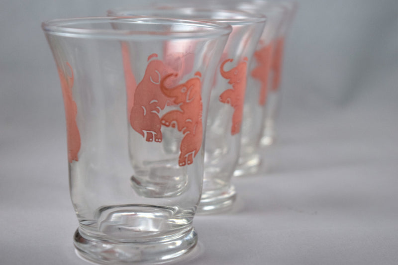 Vintage Barware-Cocktail Glasses-Hazel Atlas-Pink Elephant-3.5 Ounce - Retro Reclaimations - 4