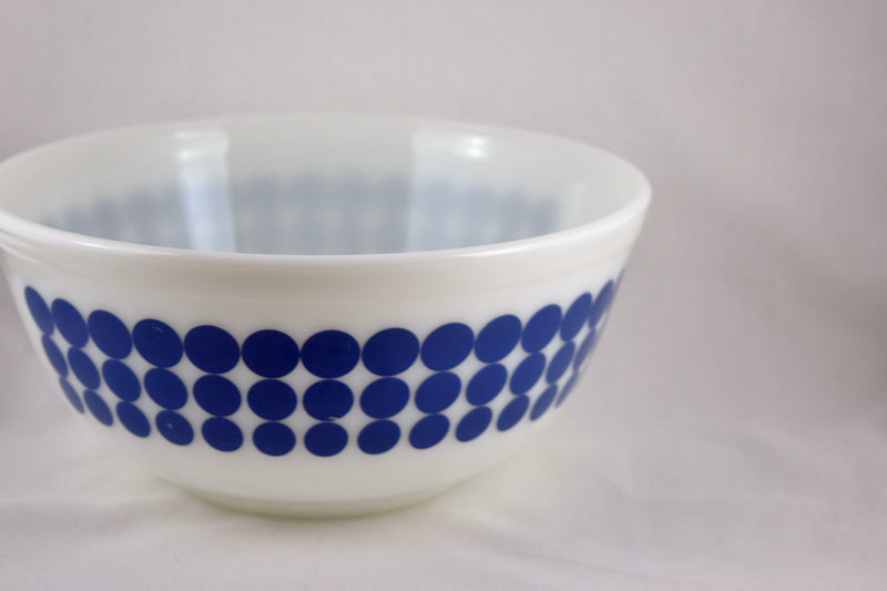 Vintage Glassware-Pyrex-Mixing-Nesting-Bowl-Blue Dots-1968 - Retro Reclaimations - 2