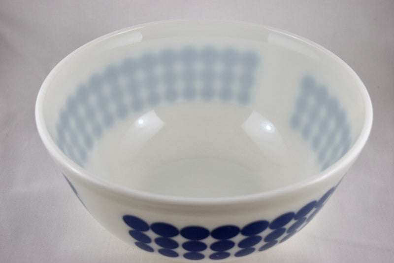 Vintage Glassware-Pyrex-Mixing-Nesting-Bowl-Blue Dots-1968 - Retro Reclaimations - 1