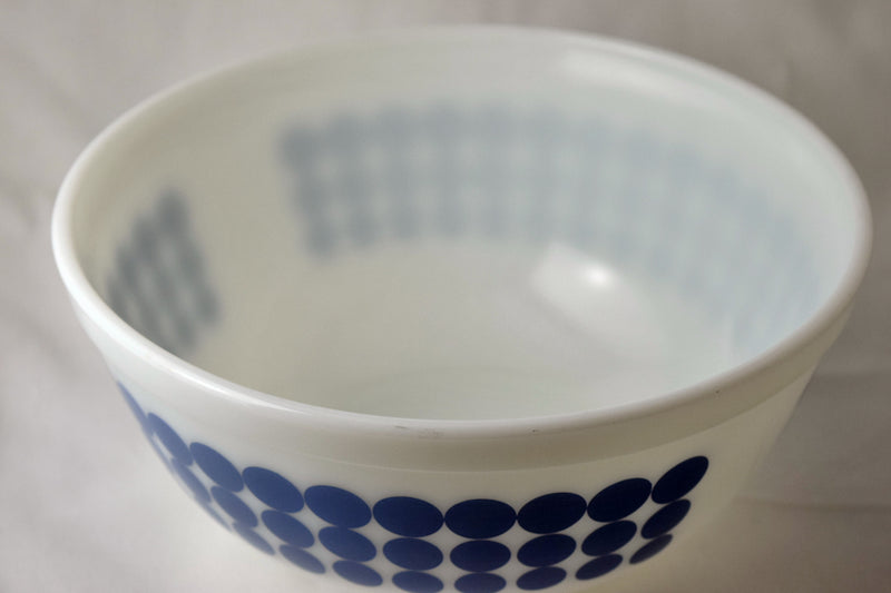 Vintage Glassware-Pyrex-Mixing-Nesting-Bowl-Blue Dots-1968 - Retro Reclaimations - 7