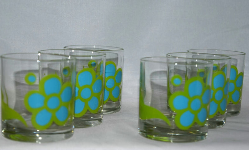 Vintage Barware-Colony-Bar Set-Daisy-Mod-Flower Power