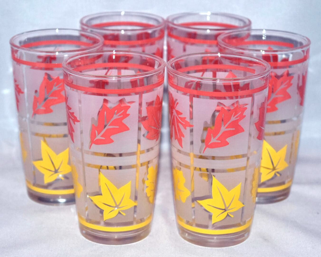 Vintage Glassware-Tumblers-Hazel Atlas-Orange-Yellow-Leaves-Gay Glasses