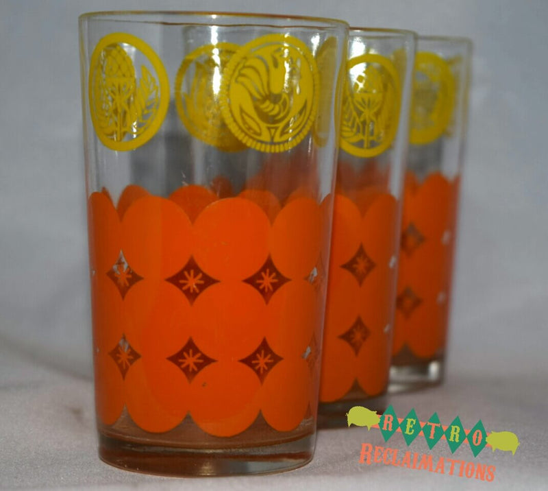 Vintage Glassware-Juice-Tumblers-Orange-Yellow