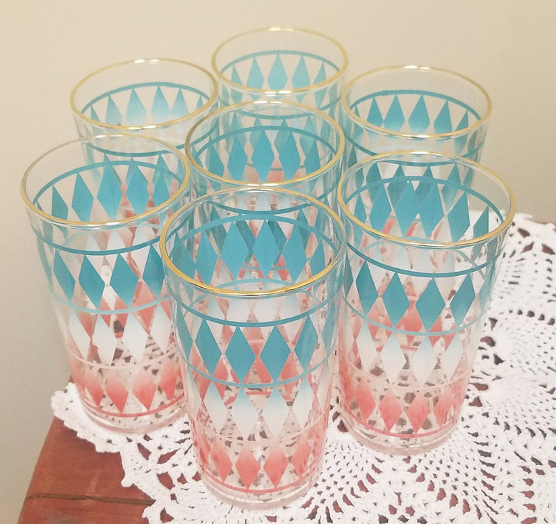 Vintage Barware-Federal Glass Company-Highball Glasses-Harlequinn Pattern-Set of 8