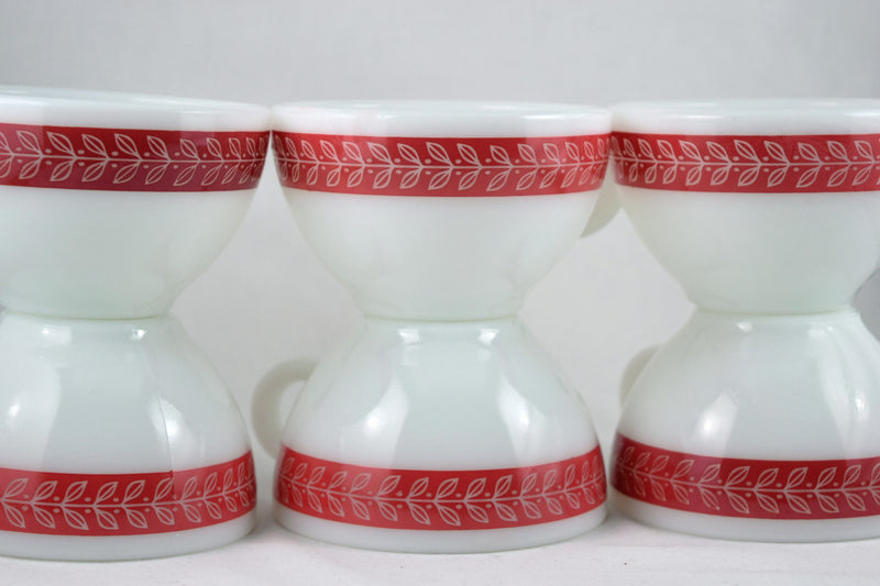Vintage Glassware-Pyrex-Coffee Mug-Saucer-Set-Laurel Leaf-Red-(1 set) - Retro Reclaimations - 2