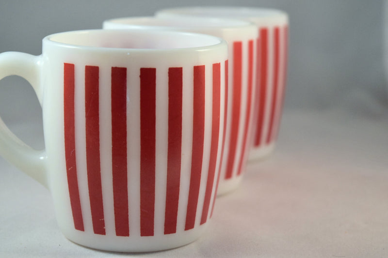 Hazel Atlas-Red Stripe-C-Handle Mug-set of 3 - Retro Reclaimations - 1