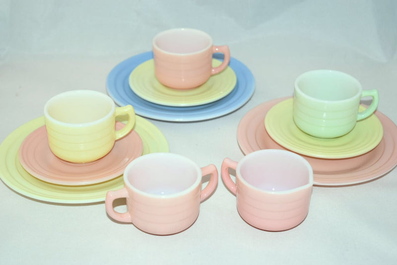 Vintage Glassware-Hazel Atlas-Little Hostess-Tea Set-Pastel - Retro Reclaimations - 2
