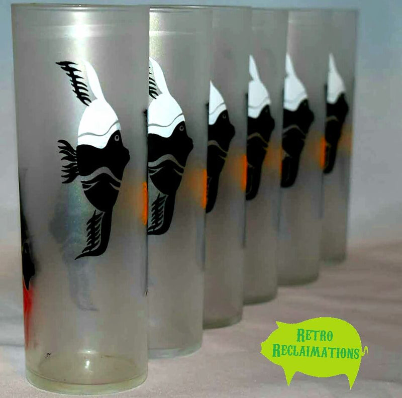 Vintage Barware-Federal-Tallboy-Tom Collins-Angel Fish-Frosted - Retro Reclaimations - 6
