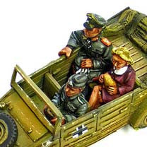 "Miniatures German Kubelwagen crew (3) Driver, Officer, Mimi: ""A Day Out"""