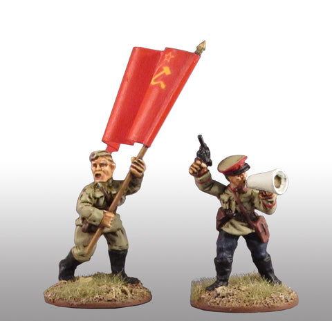 Game Miniatures - Soviet Standard Bearer and Commissar