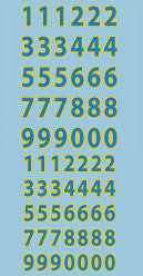 AFV-Decal German Turret Numbers blue/yellow