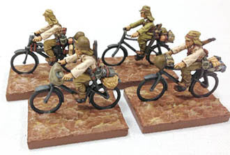 Game Miniatures - IJA Bicycle Troops Cmd & Support(4)
