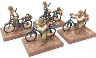 Game Miniatures - IJA Bicycle Troops Walking (4)