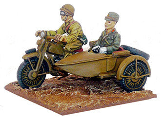 IJA-AFV Japanese motorcycle, sidecar & Officer