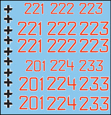 AFV-Decal German Panther Numbers Red/White