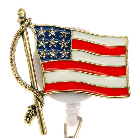 American Flag ID Badge Reel - SassyBadge