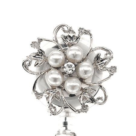 Dainty Pearl White Flower ID Badge Reel - SassyBadge
