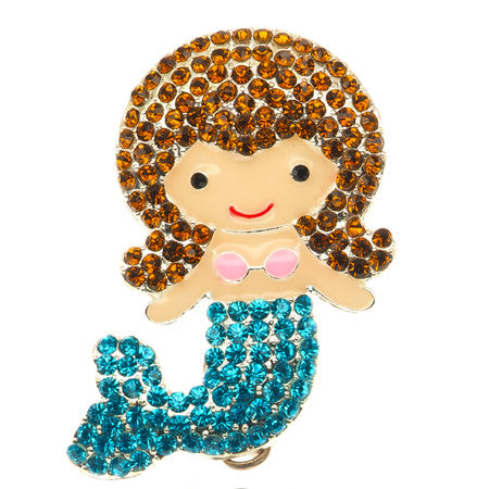 Brunette Mermaid ID Badge Reel - SassyBadge