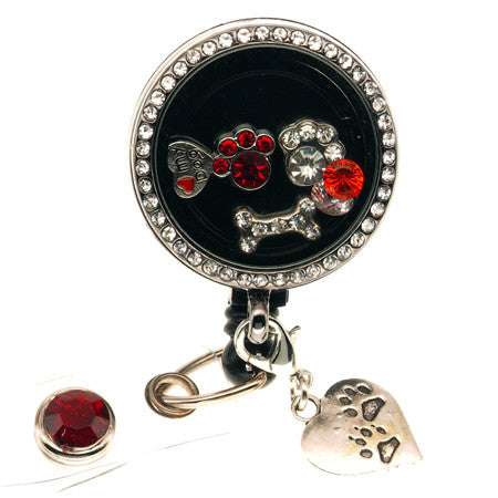Dog Lovers Floating Charm ID Badge Reel - SassyBadge