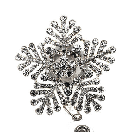 Silver Snowflake ID Badge Reel - SassyBadge