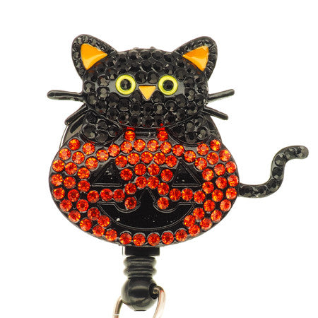 Halloween Cat ID Badge Reel - SassyBadge