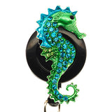 Blue Seahorse Black ID Badge Reel - SassyBadge