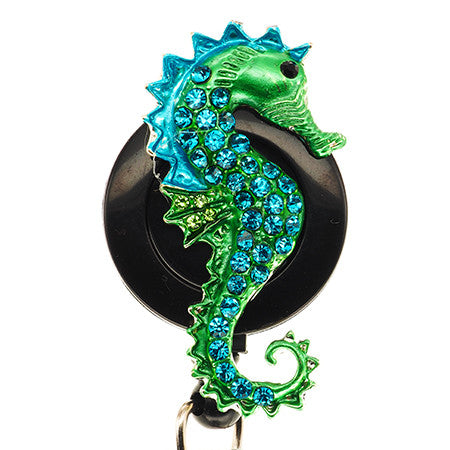 Blue Seahorse ID Badge Reel - SassyBadge