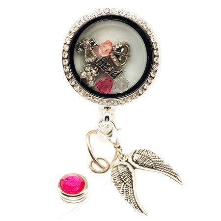 Pray In Pink Floating Charm ID Badge Reel - SassyBadge