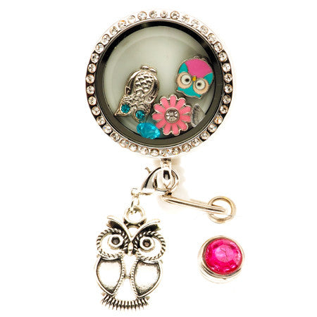 Enchanted Owl Floating Charm ID Badge Reel - SassyBadge