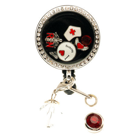 Devoted Nurse Floating Charm ID Badge Reel - SassyBadge