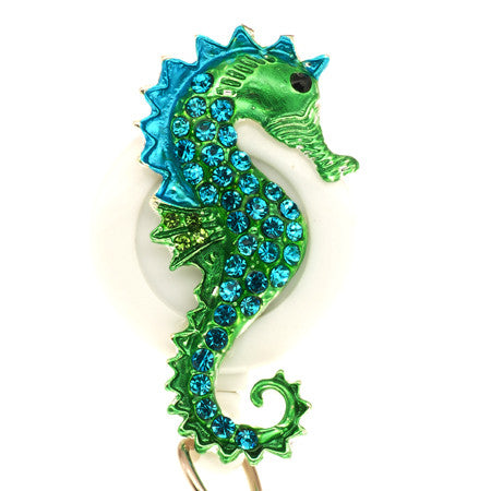 Blue Seahorse White ID Badge Reel