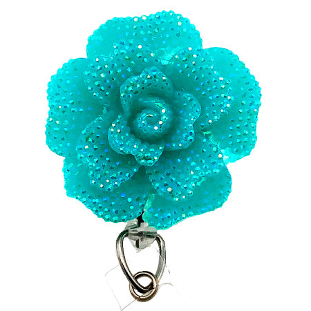 Turquoise Rose ID Badge Reel