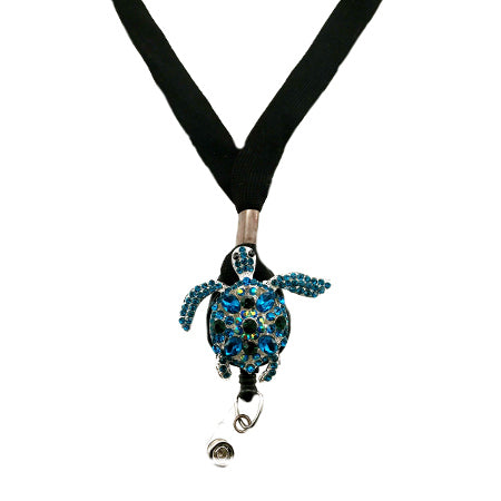 Silver Blue Sea Turtle Lanyard - SassyBadge
