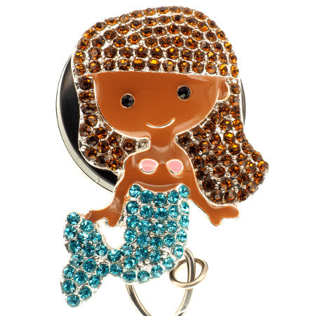 Brunette Mermaid II ID Badge Reel - SassyBadge