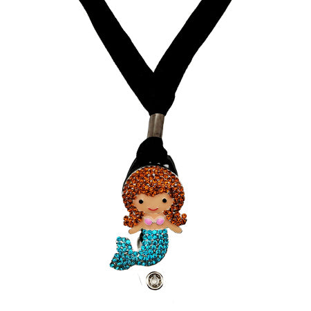 Brunette Mermaid Lanyard - SassyBadge