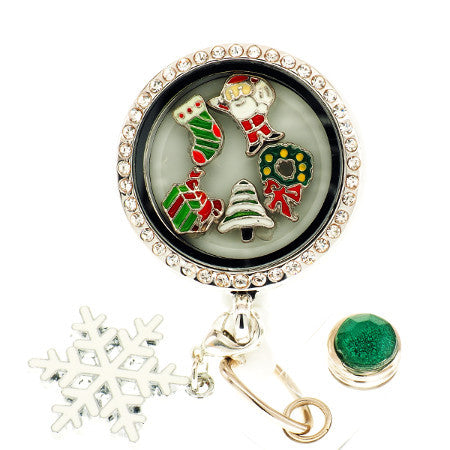Christmas Morning Floating Charm ID Badge Reel - SassyBadge