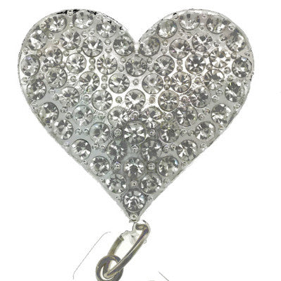 Clear Rhinestone Heart ID Badge Reel