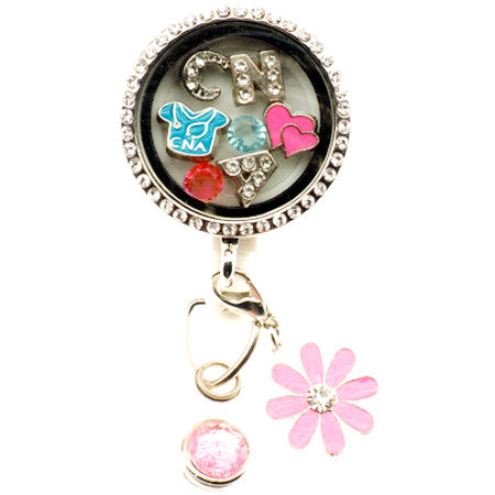 CNA Floating Charm ID Badge Reel - SassyBadge