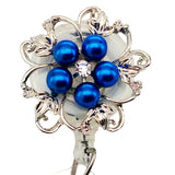 Dainty Pearl Blue Flower ID Badge Reel - SassyBadge
