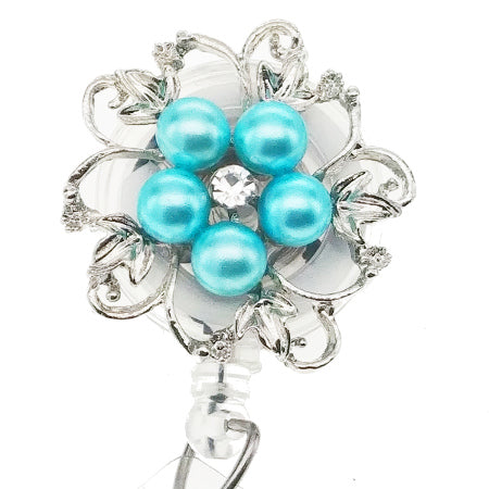 Dainty Pearl Light Blue Flower ID Badge Reel - SassyBadge