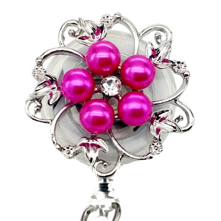 Dainty Pearl Pink Flower ID Badge Reel - SassyBadge