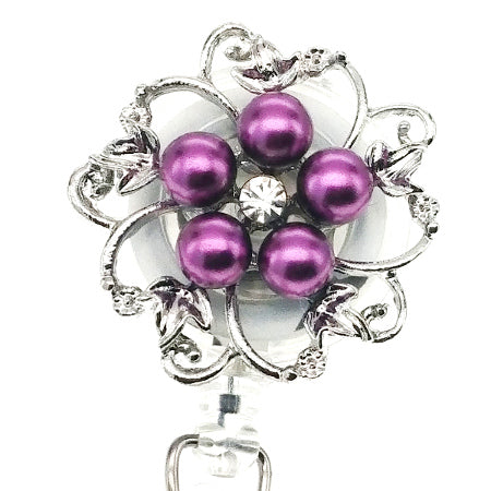 Dainty Pearl Purple Flower ID Badge Reel - SassyBadge