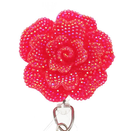 Dark Pink Rose ID Badge Reel